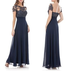 JS COLLECTIONS Embroidered Illusion Bodice Gown 2